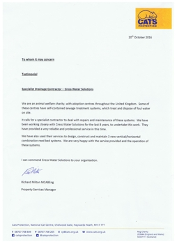 CATS Protection testimonial - by Cress Water Solutions